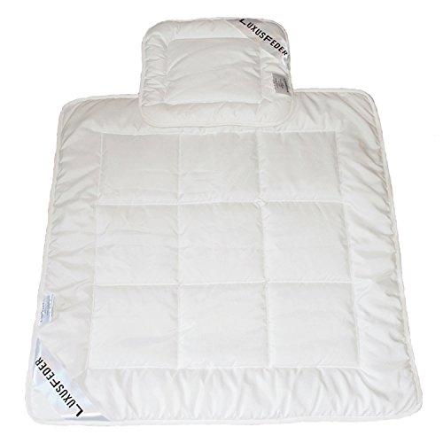 Luxusfeder - Bettdeckenset | Babydecke 80x80 cm + Babykissen 35x40 cm | Öko-Tex zertifiziert Baby Bettdecke und Kopfkissen sind atmungsaktiv + allergikergeeignet