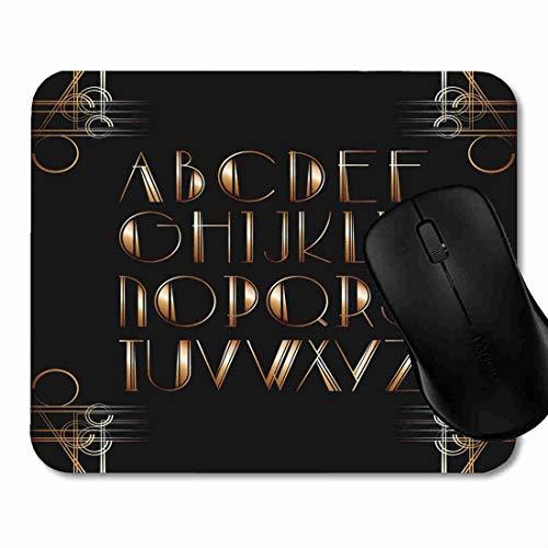 Mauspad Partei-schwarzer großer Gatsby-Art-Beschriftungs-Buchstabe Rutschfeste Gummi Basis Mouse pad, Gaming und Office mauspad für Laptop, Computer PC 1H2102