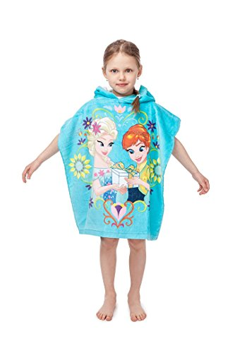 Jerry Fabrics s.r.o. 347899 Mädchen mit Kapuze Poncho Handtuch;100% Qualitäts-Baumwolle;Alter 3 - 7 Jahre;Disney gefroren, mehrfarbig (O R Handtücher)