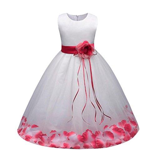 Sannysis Mädchen Kinder Tüll Blume Kleider Blumenmädchenkleider Hochzeitskleid Brautjungfern Kleid Prinzessin Hochzeit Abendkleid Langes Kleid Festzug Cocktailkleid Ballkleid (140, Pink) (Kleidung Für Mädchen Ausgefallene)