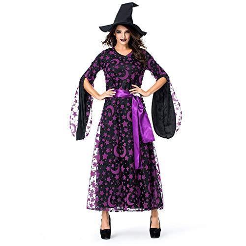 Vectry Mode Damen Halloween Kleider Cosplay Kostüm Party Cosplay Ghost Star Moon Magie Hexe Vintage Kleid Karneval Festival Wear Lila - Schwanger Superhelden Kostüm