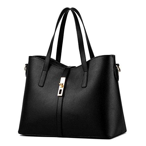 koson-man-womens-pu-leather-sling-vintage-zipper-decorate-tote-bags-top-handle-handbagblack