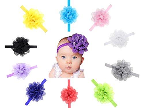 Vendas del bebé,Chickwin 10pcs venda linda de las vendas de la flor para los accesorios del pelo de los bebés