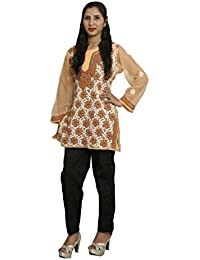 Panache Women's Georgette Chikan Short Top with Cotton Chikan Pant (F/JST/00001_Brown_42)