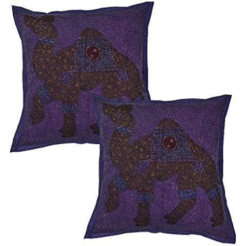 Rajrang CCS02364 Camel, Set di 2 federe per cuscino patchwork, in cotone, 40 x 40 cm, Blu (Blau)