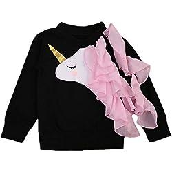 IPBEN Unicornio Manga Larga Algodón Camiseta para Bebé Niñas 0-6 años (5-6 años, Negro)