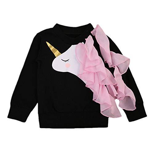 IPBEN Unicornio Manga Larga Algodón Camiseta para Bebé Niñas 0-6 años (4-5 años, Negro)