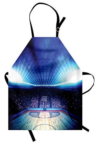 Abakuhaus Basketball Kochschürze, Basketball Arena Court mit Fans und Wettbewerb Thema Spiel Aufregung Print, Farbfest Höhenverstellbar Waschbar Klarer Digitaldruck, Schwarz