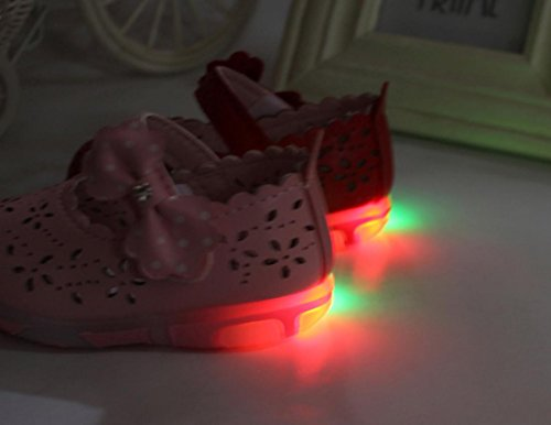 kingko® Toddler Filles creux bowknot Sandales Lighted Soft-Soled Princesse Chaussures rose