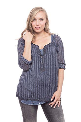 Abbino Thea Damen Top Shirt - Made in Italy - Langarm Ohne Kragen Frühjahr Sommer Baumwolle Gestreift Sale Top Basic Tshirt T Shirt Damenshirt MIDI Sexy Spitze Festlich Freizeit Blau