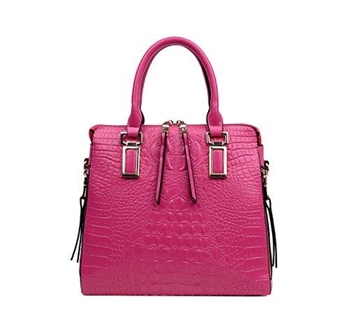 Yy.f Neue Handtasche Gezeiten Handtasche Art Und Weise Frauschulterkurierbeutel Schalentasche Krokoprägung Große Tasche Einfach. Multicolor Pink
