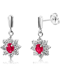 Miore Ruby Earrings, 9ct White Gold, Diamond and Ruby Drops, 3/4 carat Diamond Weight, MA907EW