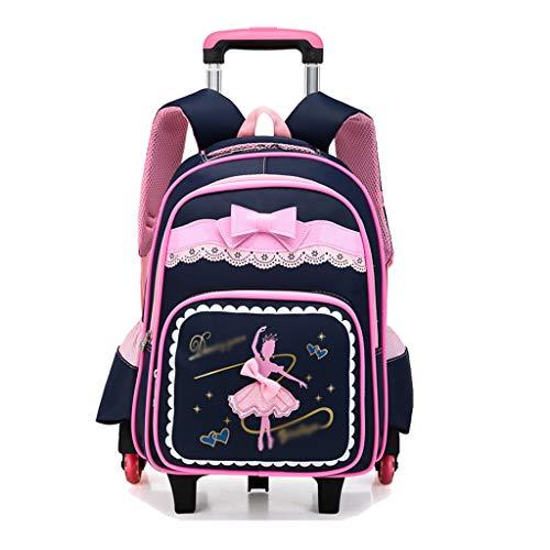 OaLt-t Rucksack Mädchen Druck Roller Trolley Schultasche Schüler Kind Mädchen Trolley Niedliche Schmetterling Studententasche (Farbe : Blau, größe : Six Rounds)