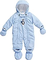 Playshoes Baby Boys 0-24M Fleece Lined Overall Penguin Snowsuit, Blue, 6-12 Months (Manufacturer Size:9-12 Months (80cm))