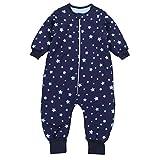 TupTam Baby Unisex Schlafsack mit Beinen und Ärmel Winter, Farbe: Sterne Blau/Dunkelblau, Größe: 80-86