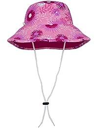 Tuga - Sombrero para niña con protección UV UPF50+ (reversible para dos opciones de color, con cuerda y ala ancha), niña, Carnation, Medium (50.5-54.5 cm)
