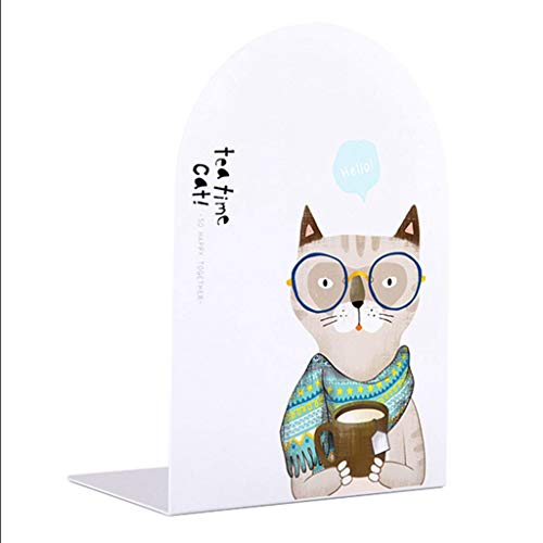 Metal Bookends Metal Bookends for Students Lovely Teatime Cat 8 Inch 200mm Big Size Desk Accessories Organizer 1 Pair Bookend Bookends