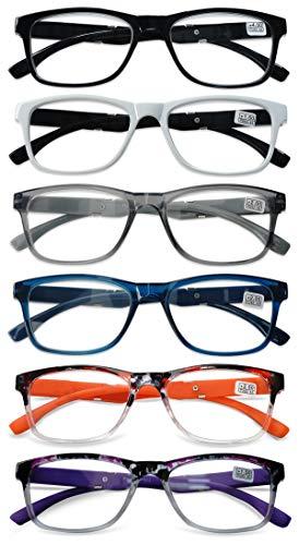 KOOSUFA Lesebrille Herren Damen Retro Lesehilfen Sehhilfe Federscharniere Rechteckige Vollrandbrille Arbeitsplatzbrille UV Schutz Anti Müdigkeit Brille1.0 1.5 2.0 2.5 3.0 3.5 4.0 (6 Farben Set, 2.0)