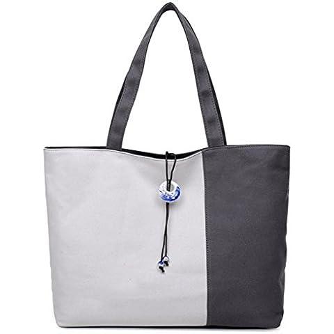 Baodan Mujer bolso bandolera casual retro color mosaico bandeja extra grande bolsa de lona . gray