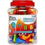 Globo Toys Globo–36399Kidea letras y números magnéticos tarro (52-Piece)