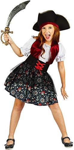 U LOOK UGLY TODAY Kinder Kostüm Pirat Halloween Kleid Karneval Verkleidungsparty Cosplay für Mädchen - L