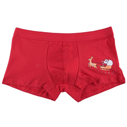 """Ouneed® Herren Boxershorts , Herren Weihnachten Mens Christmas Weihnachtsmann Shorts Pouch Soft Unterwäsche (L Taille: 83-93 cm / 32,7 """"-36,6"""", Rot B)"""