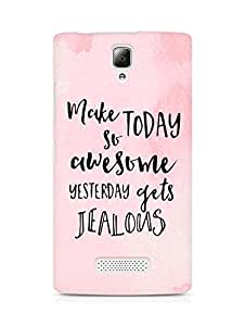 AMEZ make today so awesome yesterday gets jealous Back Cover For Lenovo A2010
