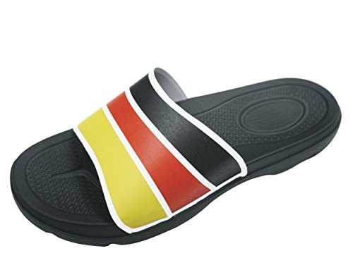 BOCKSTIEGEL® JOGI BADELATSCHEN Damen Herren Unisex (Größen: 38-47) black/white/red/yellow