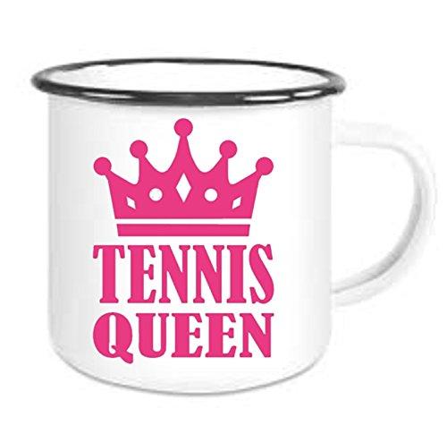 crealuxe Emailtasse mit Rand Tennis Queen - Kaffeetasse mit Motiv, Bedruckte Email-Tasse mit Sprüchen Oder Bildern