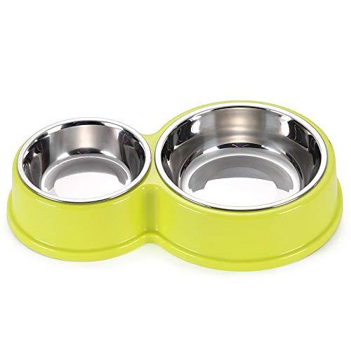 Anwasd7 Edelstahl hundenapfBowlremovable und Praktische Double Bowl Large Dog Slip Leicht zu Reinigen Pet Feeder Grün -