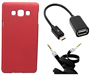 Toppings Hard Case Cover With OTG Cable & Aux Cable For Samsung Galaxy A8 - Red