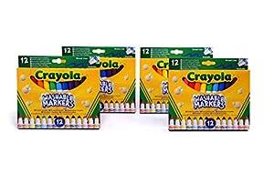 CRAYOLA- 4 Paquetes de 12 rotuladores Maxi Punta, Tinta Lavable, para Escuela y Tiempo Libre, Multicolor, 7460