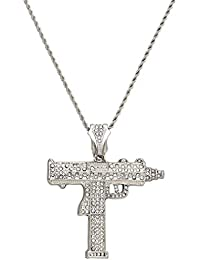7fde6819413 XL Bling Crystal Uzi Submachine Gold or Silver Plated Gun Pendant Diamond  Cut Rope Chain Necklace