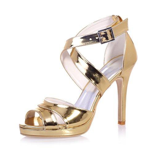 Chalmart Sandales à Haut Talon Soirée Chaussures Mariage Vogue Escarpins à bride élégant Doré