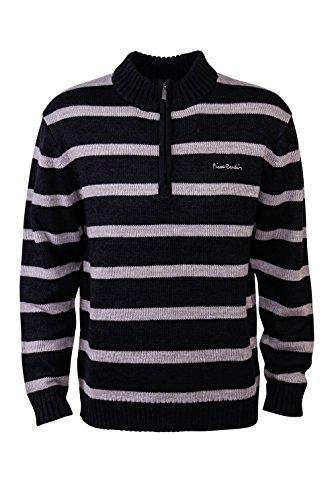 pierre-cardin-mens-new-season-1-4-zip-funnel-neck-knitted-stripe-jumper-medium-black-stripe