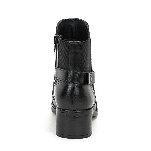MARINA SEVAL by Scarpe&Scarpe - Bottines hautes avec élastique arrière et queue d'aronde, en Cuir, à Talons 5 cm Noir