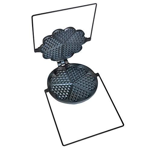 acerto 20153 Hochwertiges traditionelles Waffeleisen aus Gusseisen, 17,5 cm - Für alle Herdarten und Grills