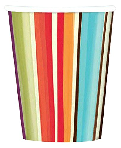 Disposable Paper Cups in Stylish Stripes Print (8 Pack), 9 oz, Multicolor
