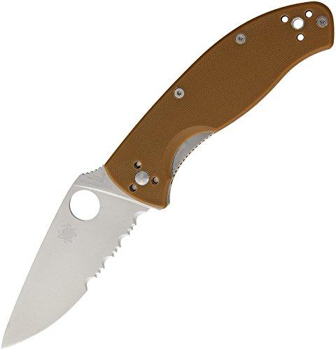 Spyderco Tenacious C122GPSBN G10 Brown Griff, Serrated Klinge, Klappmesser -
