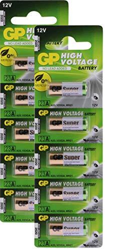 GP 23A / MN21 12 Volt (12v), 10Stück Batterien Alkaline 23AE 12V (Batterie A23s)