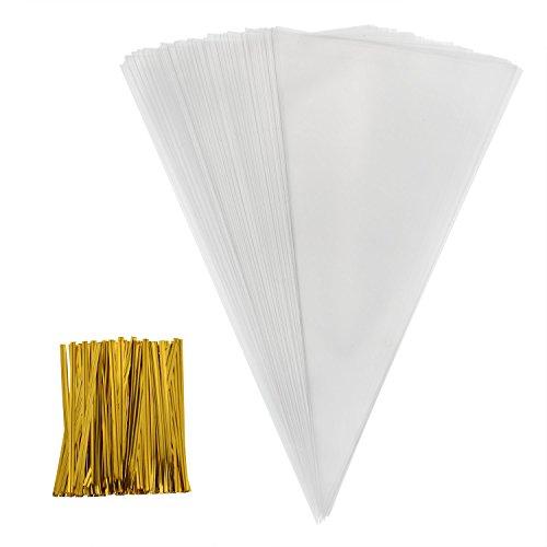 100 Stück Mittelgroß klar Cone Tüte Durchsichtig Kegel Taschen Süßigkeitentüten und 100 Stück Golden Twist Ties, 11,8 mal 6,3 Zoll