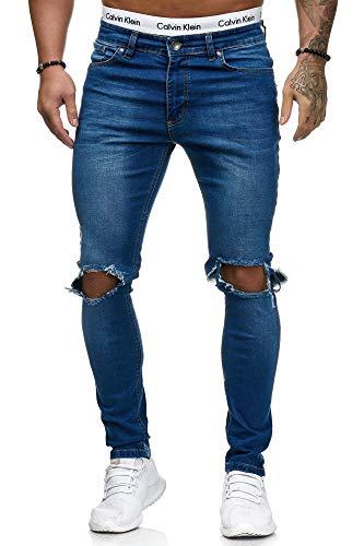 OneRedox Herren Jeans Denim Slim Fit Used Design Modell 5130 Blau 30/32