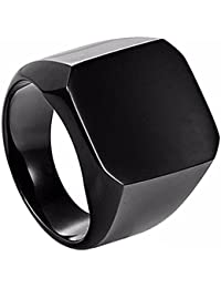 Miami Jewellery Black Stainless Steel Ring For Men Boys Fancy Party Wear Stylish Rings Valentine Gift For Boyfriend -MR101