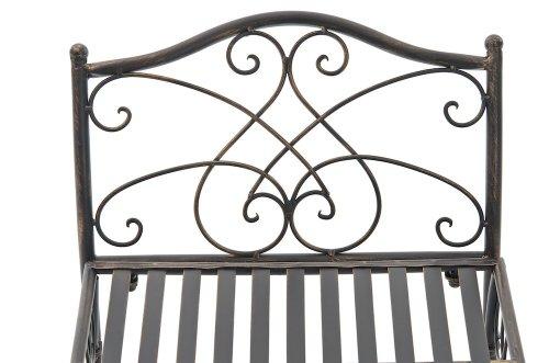 CLP Gartenbank SHERAB im Landhausstil, aus lackiertem Eisen, 125 x 43 cm (aus bis zu 6 Farben wählen) bronze - 4