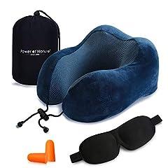 Idea Regalo - Cuscino da viaggio memory foam – The Best a forma di U collo cuscino con 360 Head & tridimensionale pieno supporto cervicale collo cuscino da viaggio perfetto per aereo auto & home use (Blu Scuro)