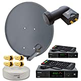 PremiumX Digitale HD SAT Anlage 2 Teilnehmer 60cm Antenne Twin LNB 25m Koax Kabel F-Stecker 2X HDTV DVB-S2 Satelliten-Receiver