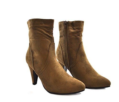 Damen High Heel Schuh Stiefeletten Inner Zip Wildleder Patent Glänzend Sexy Party Taupe