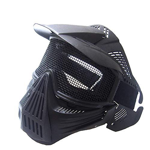 Gas Maske Mit Kostüm - CARACHOME Airsoft Maske mit Stahlgitter, Explorer Full Face Paintball Maske, Outdoor Taktische Maske mit verstellbarem Gurt, passend für BB Gun CS Cosplay Kostüm Paintball Gas,Black