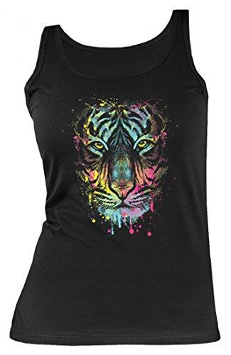Neon Damen Tank-Top Shirt - Bunte Katze - Farbiger Tiger - Tank-Top Shirt mit Motiv als kreative Geschenk Idee Aufdruck für Tigerfreunde, Größe:S - Tiger Damen Tank Top