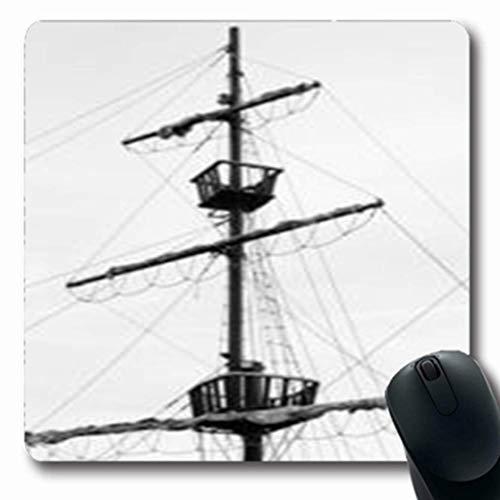 Luancrop Mauspads Ufergegend-altes Segelschiff-Holz Wieder hergestellte Navigations-Zusammenfassungs-Mast-Weinlese-längliches Spiel Mauspad rutschfeste Gummimatte